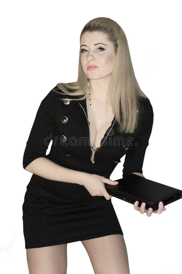 Mulher de negócio no vestido preto imagens de stock
