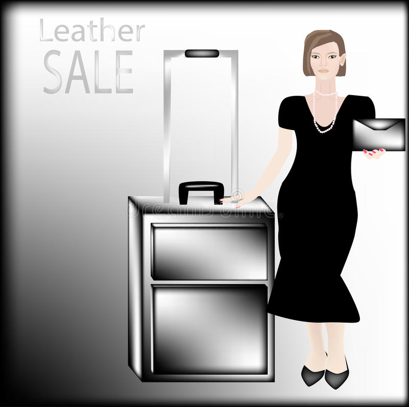 Mulher de negócio no vestido preto com as pérolas em uma mão que guarda um saco de couro na outro caixa preta do couro imagem de stock royalty free