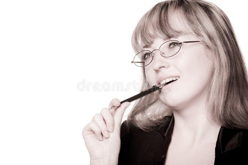 A mulher de negócio nos eyeglasses foto de stock royalty free