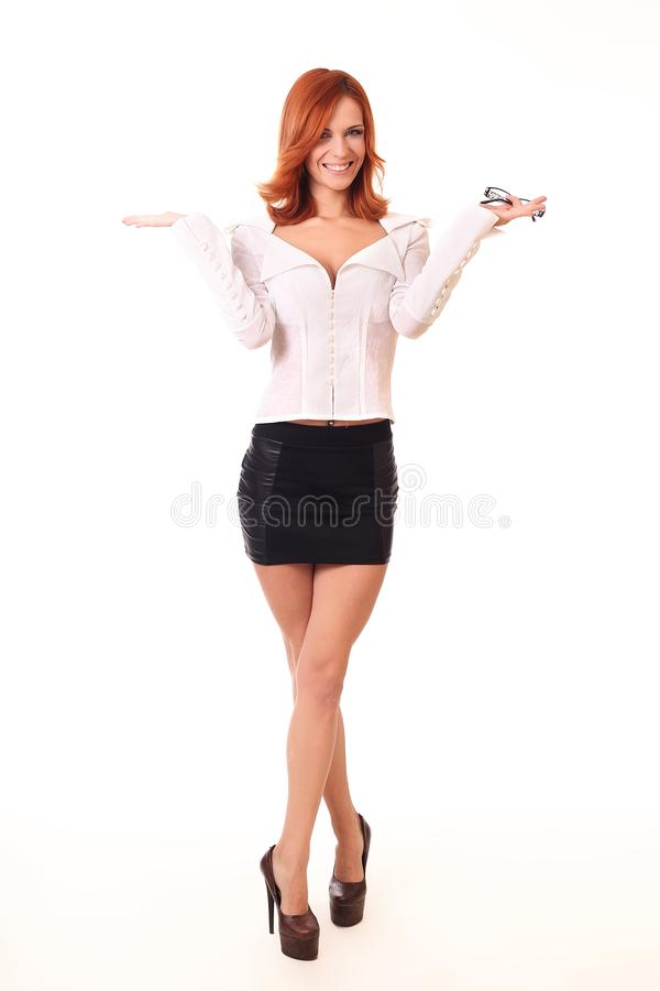 Mulher de negócio nova bem sucedida feliz para seu sucesso Isolado fotos de stock royalty free