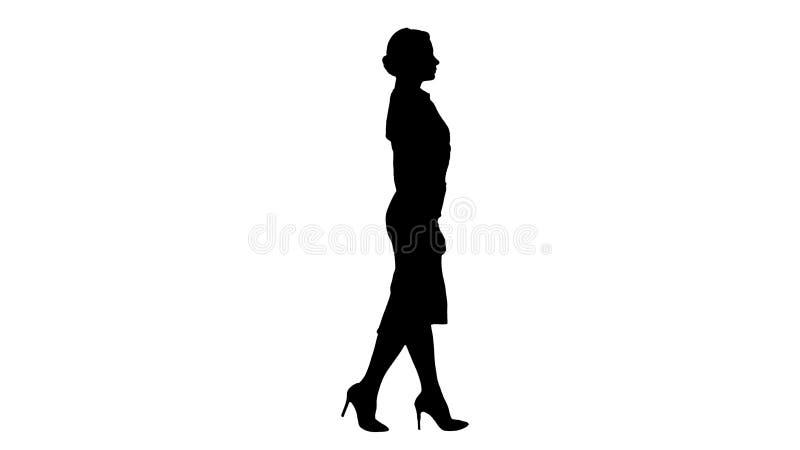 Mulher de negócio nova bonita da silhueta no passeio do vestuário formal ilustração do vetor
