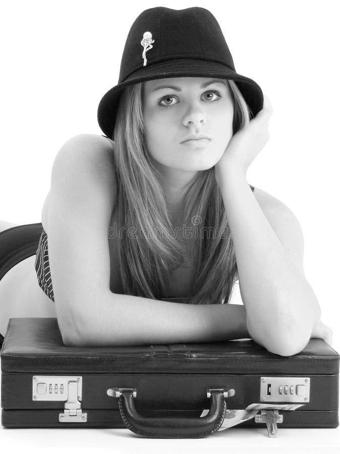 Mulher de negócio nova bonita em preto e branco imagem de stock
