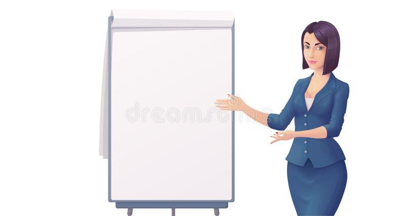 Mulher de negócio nova bonito na roupa azul, apontando na carta de aleta vazia ilustração do vetor
