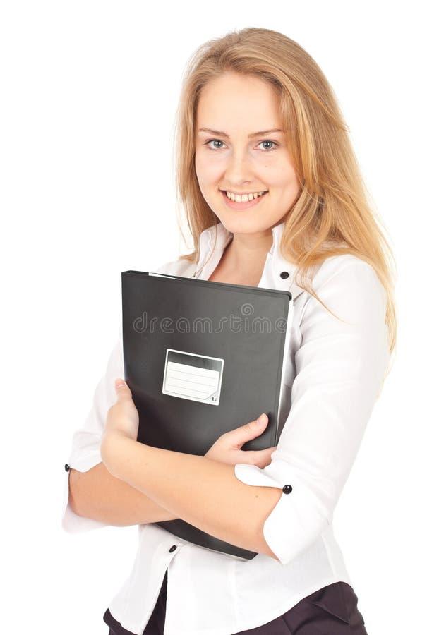 Mulher de negócio nova com dobrador imagens de stock royalty free