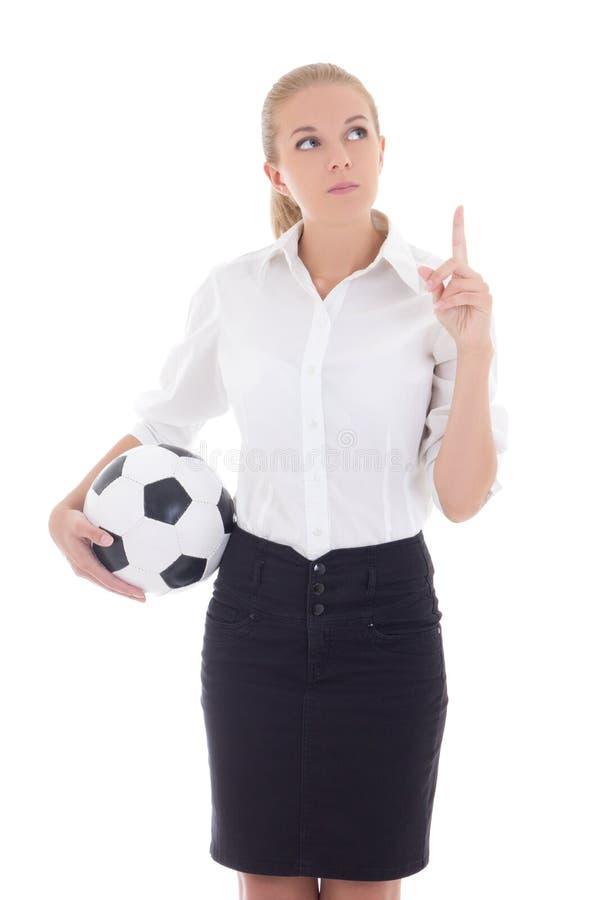 Mulher de negócio nova com exibição da bola de futebol isolada no branco fotos de stock