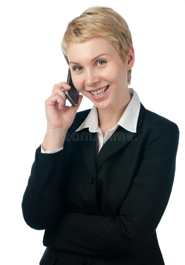 Mulher de negócio nova com telefone fotos de stock royalty free