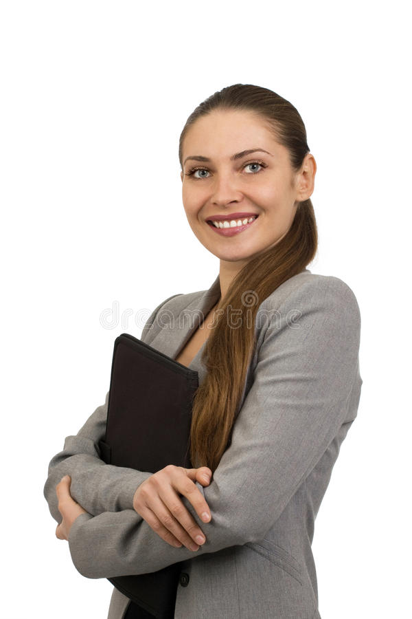 Mulher de negócio nova de sorriso bonita fotos de stock