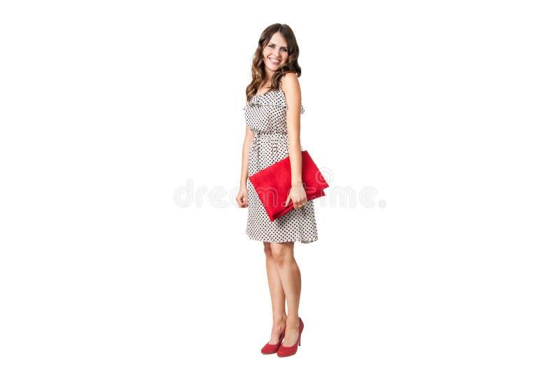 Mulher de negócio nova encantadora no vestido do ponto de polca foto de stock royalty free