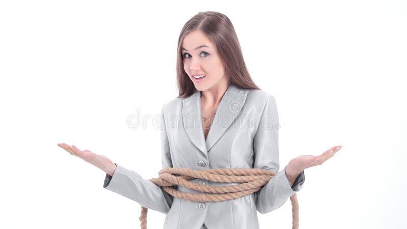 A mulher de negócio nova envolveu uma corda imagens de stock