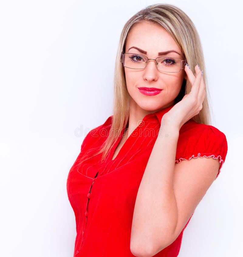 Mulher de negócio nova isolada sobre o fundo branco foto de stock royalty free