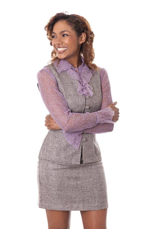 A mulher de negócio feliz olha ao lado. foto de stock
