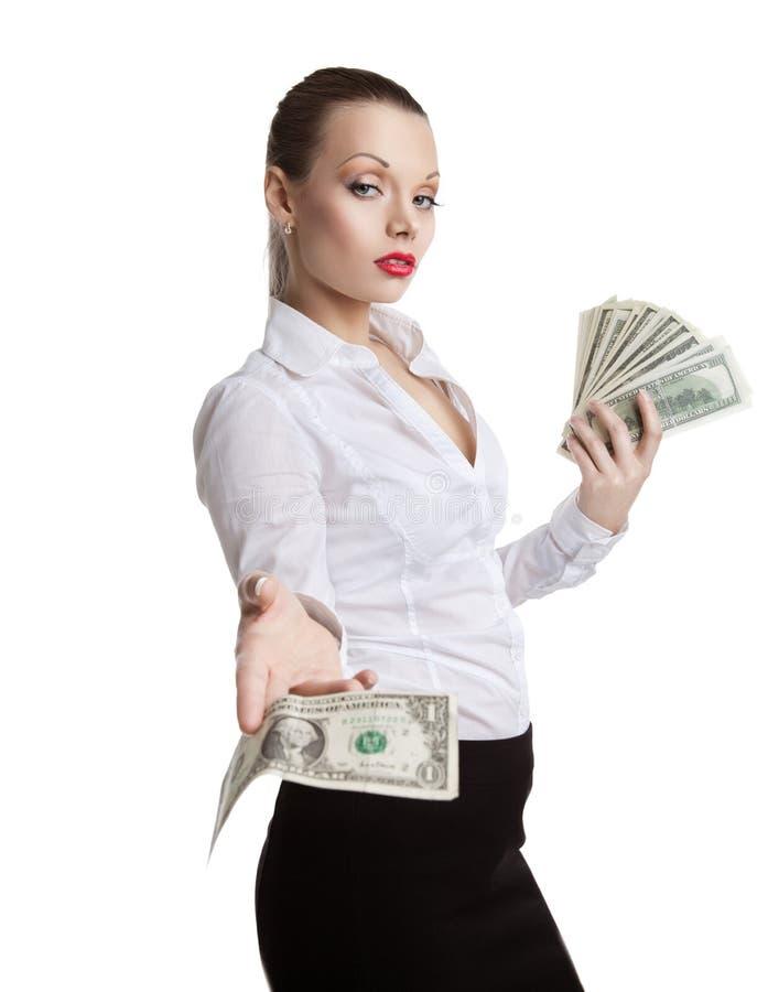 A mulher de negócio nova orgulhosa toma todo o dinheiro foto de stock royalty free