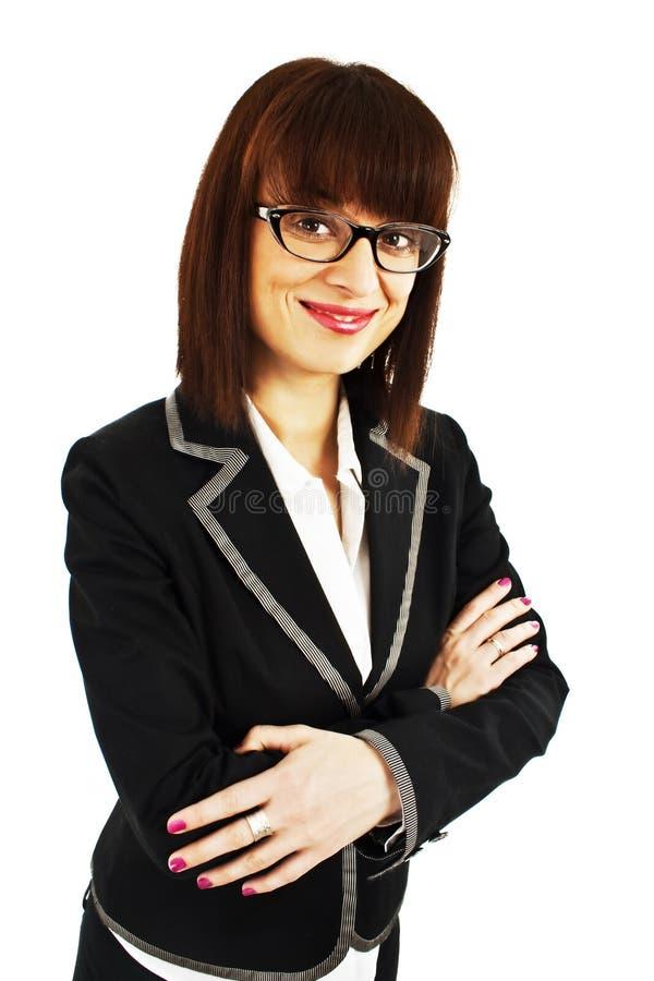 Mulher de negócio nova ou eyeglasses desgastando do professor foto de stock royalty free