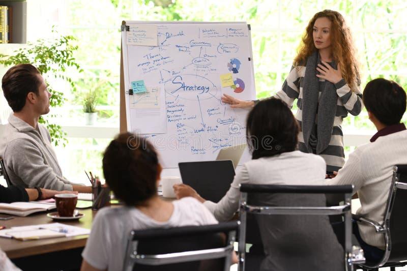 Mulher de negócio nova que dá a apresentação nos planos futuros foto de stock