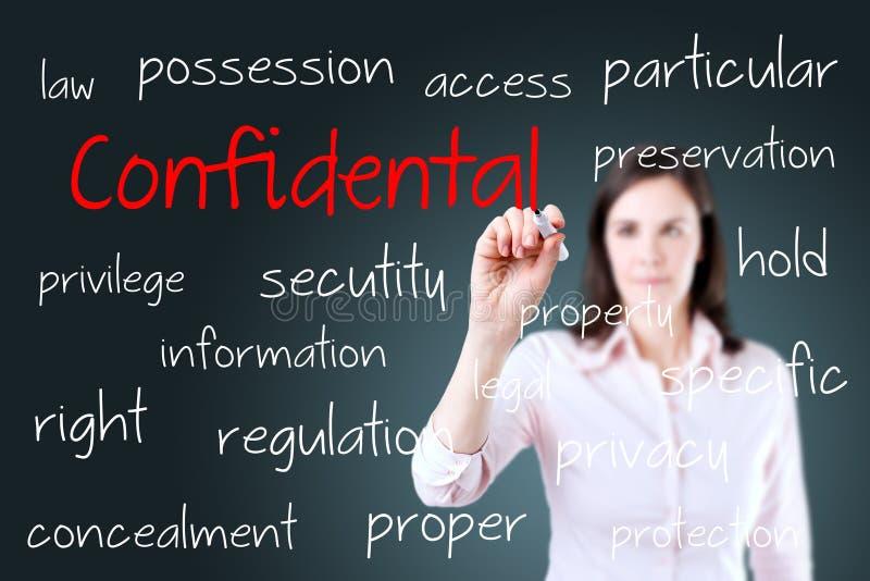 Mulher de negócio nova que escreve o conceito confidencial foto de stock