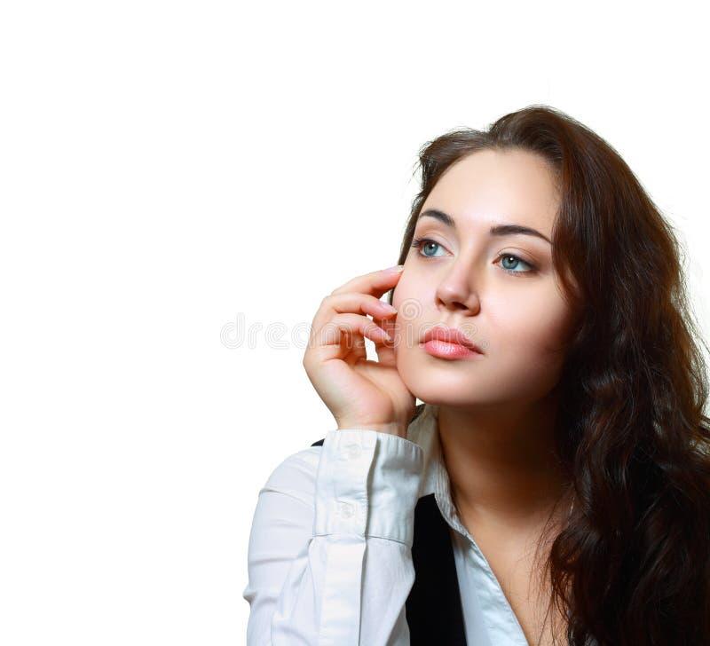 Mulher de negócio nova que olha afastado fotografia de stock