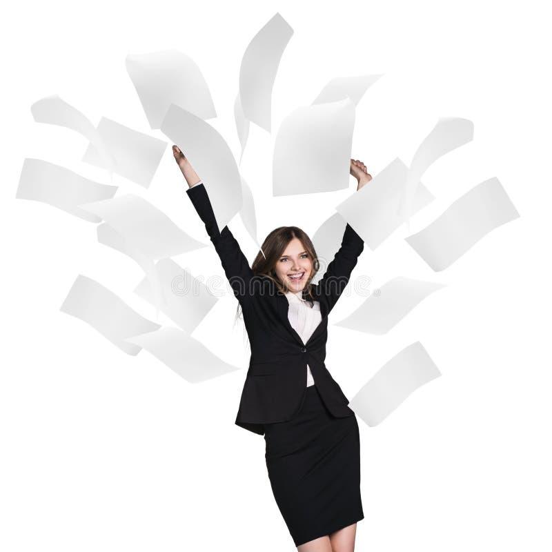 Mulher de negócio nova sob páginas de queda fotos de stock