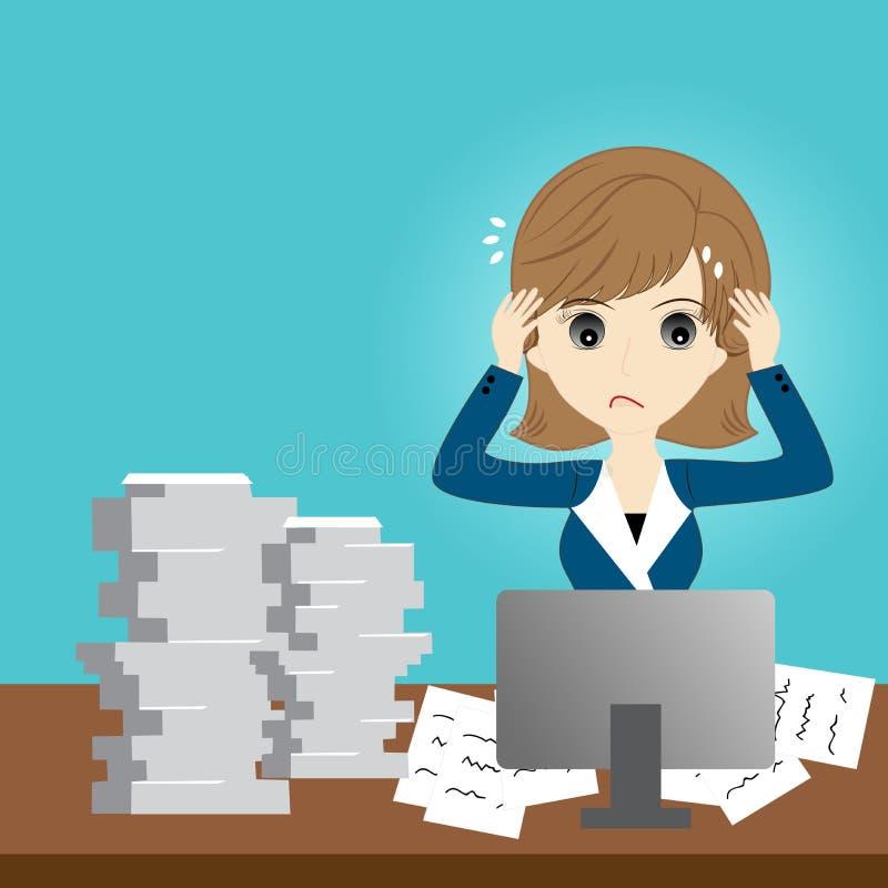 Mulher de negócio ocupada ilustração stock