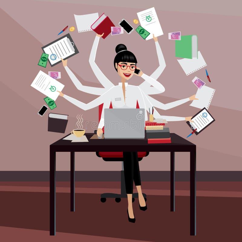 Mulher de negócio ocupada ilustração do vetor
