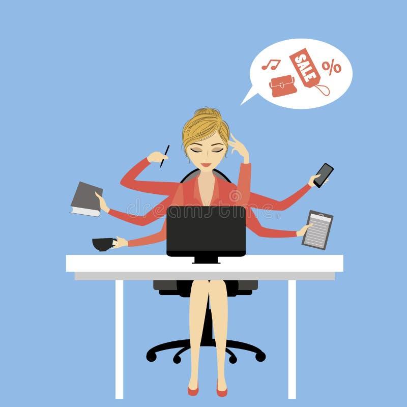Mulher de negócio ou trabalhador de escritório que senta-se no computador ilustração royalty free