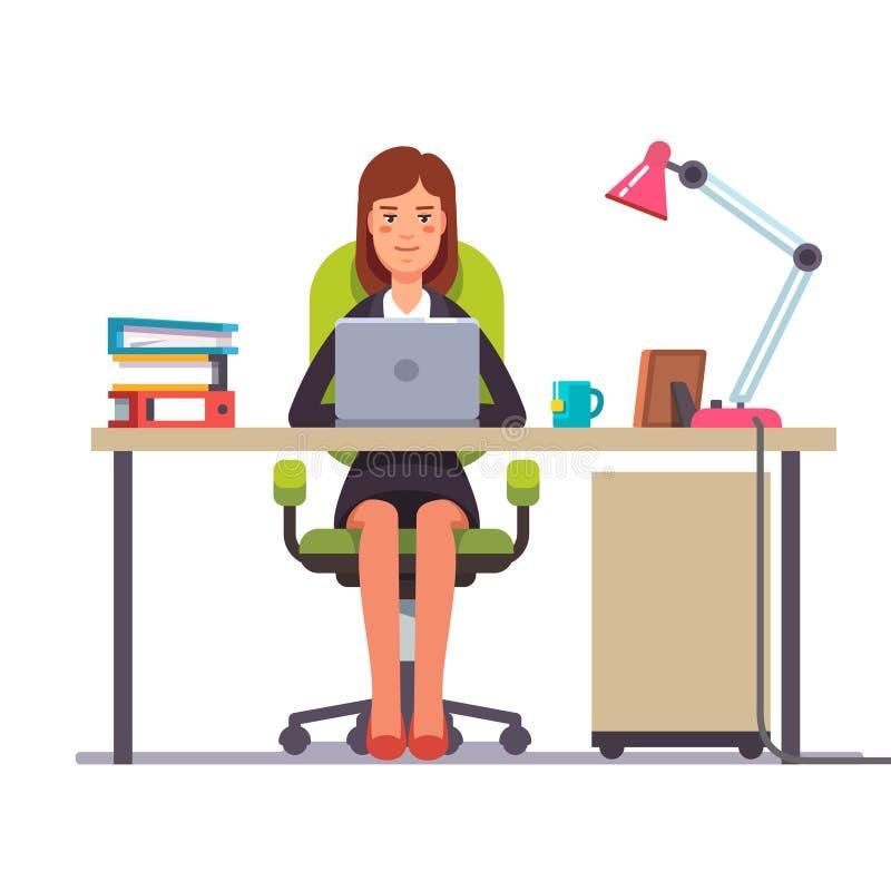 Mulher de negócio ou um caixeiro que trabalha em sua mesa ilustração royalty free