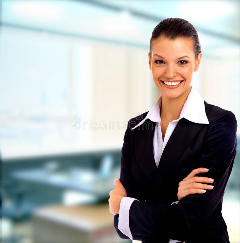 Mulher de negócio positiva fotografia de stock royalty free
