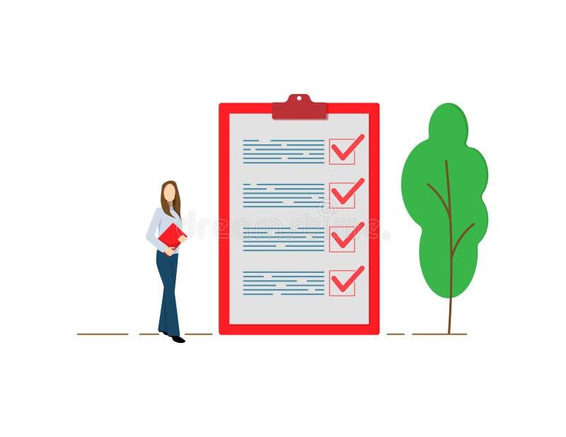 A mulher de negócio positiva com um lápis gigante no seu ombro próximo marcou a lista de verificação em um papel da prancheta Con ilustração stock
