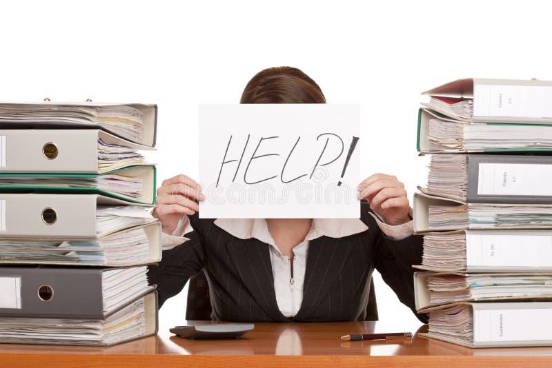 A mulher de negócio precisa a ajuda de controlar o trabalho fotos de stock royalty free
