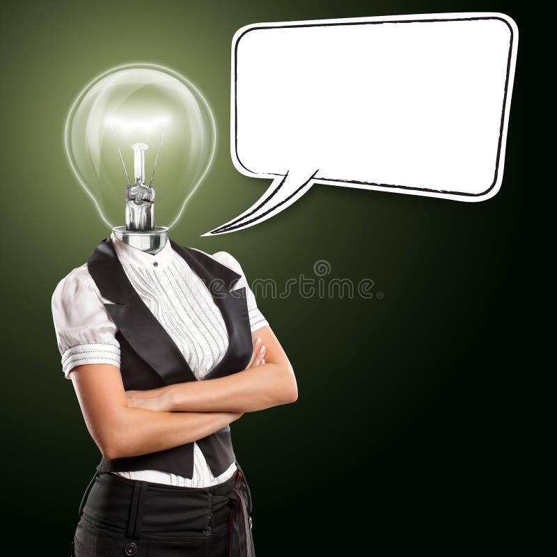 Mulher de negócio principal da lâmpada com bolha do discurso fotografia de stock