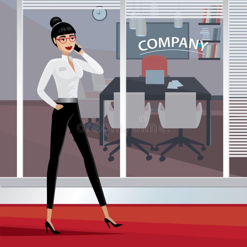 Mulher de negócio que anda em torno do escritório ilustração stock
