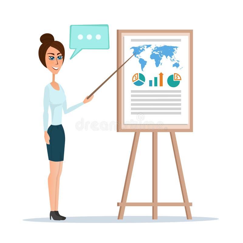 Mulher de negócio que aponta em uma placa da carta Ilustração do vetor ilustração do vetor