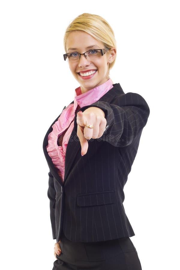 Mulher de negócio que aponta seu dedo foto de stock