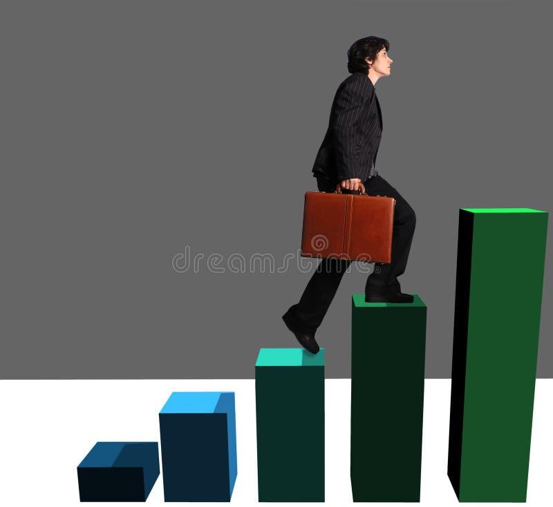 Mulher de negócio que ascensão um gráfico imagem de stock