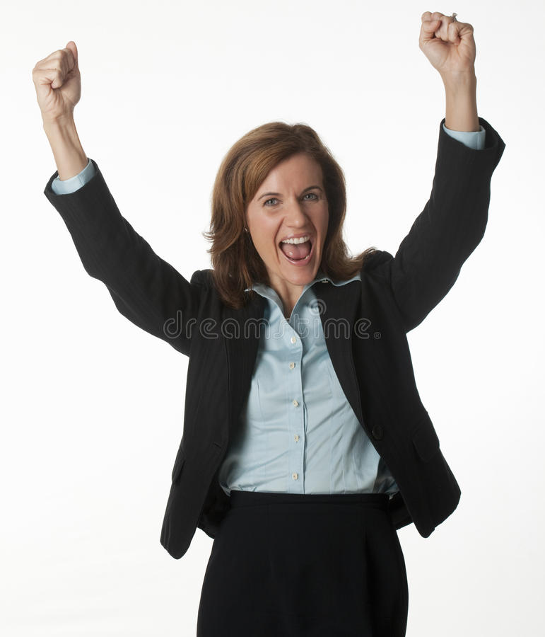 Mulher de negócio que cheering seu sucesso foto de stock