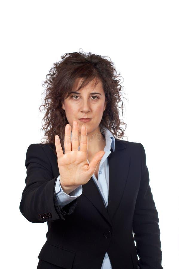 Mulher de negócio que diz o batente imagem de stock royalty free
