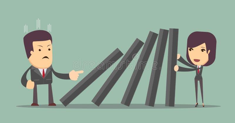 Mulher de negócio que empurra duramente contra a plataforma de queda de telhas do dominó ilustração do vetor