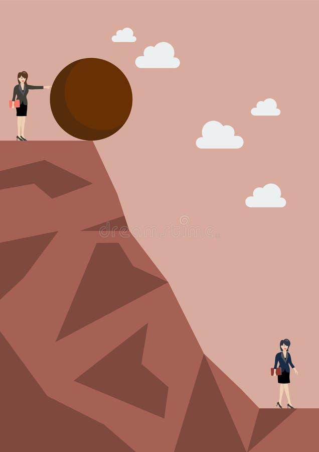 Mulher de negócio que empurra a pedra pesada para seu inimigo ilustração do vetor