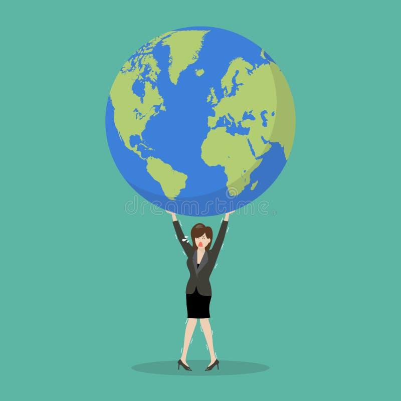 Mulher de negócio que esforça-se para levar o globo ilustração do vetor
