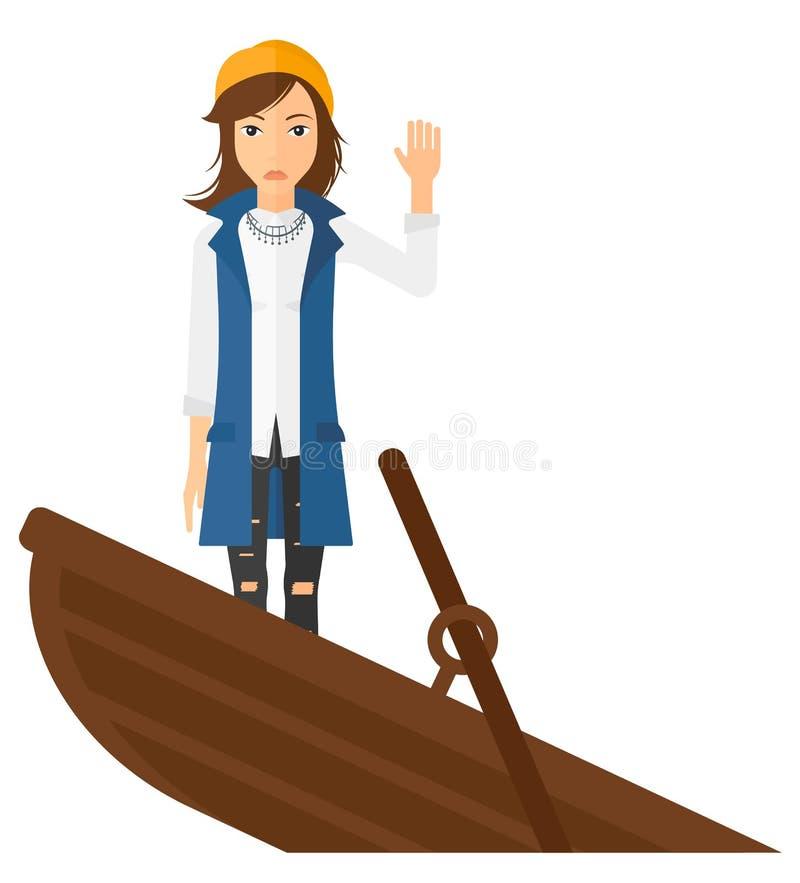 Mulher de negócio que está no barco de naufrágio ilustração do vetor
