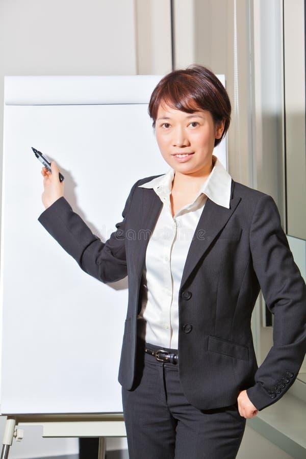 Mulher de negócio que faz a apresentação fotografia de stock royalty free