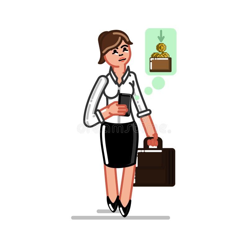 mulher de negócio que faz o dinheiro ilustração royalty free