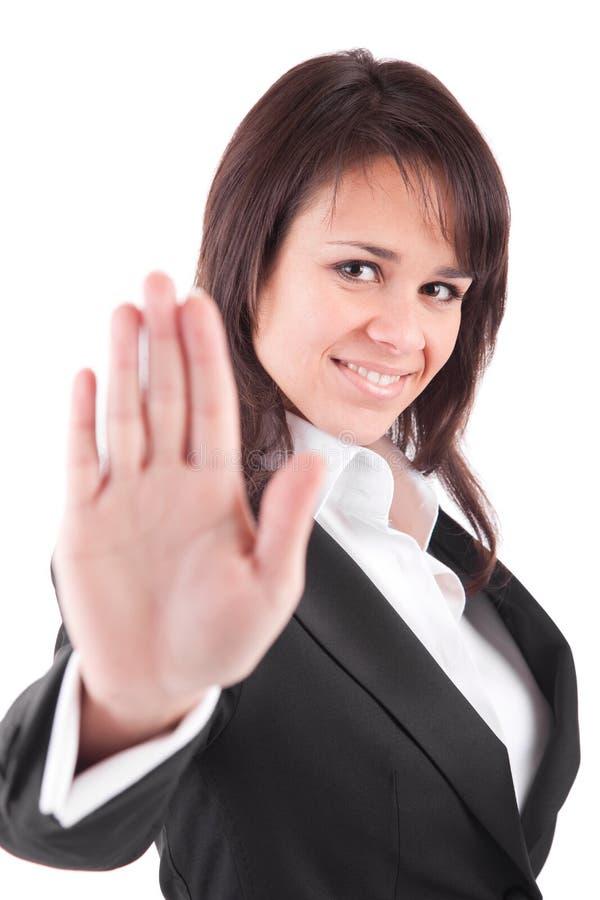 Mulher de negócio que faz o sinal do batente fotos de stock