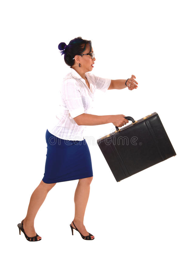 Mulher de negócio que funciona tarde fotografia de stock