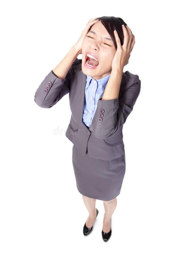 Mulher de negócio que grita fotos de stock royalty free