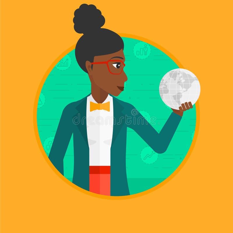 Mulher de negócio que guarda a ilustração do vetor do globo ilustração do vetor
