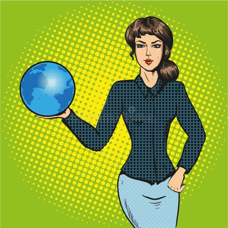 Mulher de negócio que guarda o vetor cômico do pop art da terra ilustração royalty free