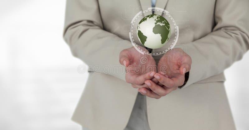 Mulher de negócio que guarda um globo com conectores imagens de stock
