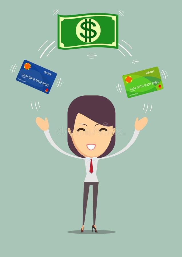 Mulher de negócio que indica um dinheiro e um cartão de dinheiro ilustração royalty free