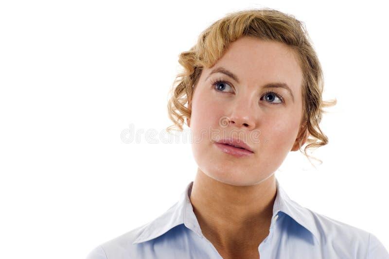 Mulher de negócio que olha acima foto de stock