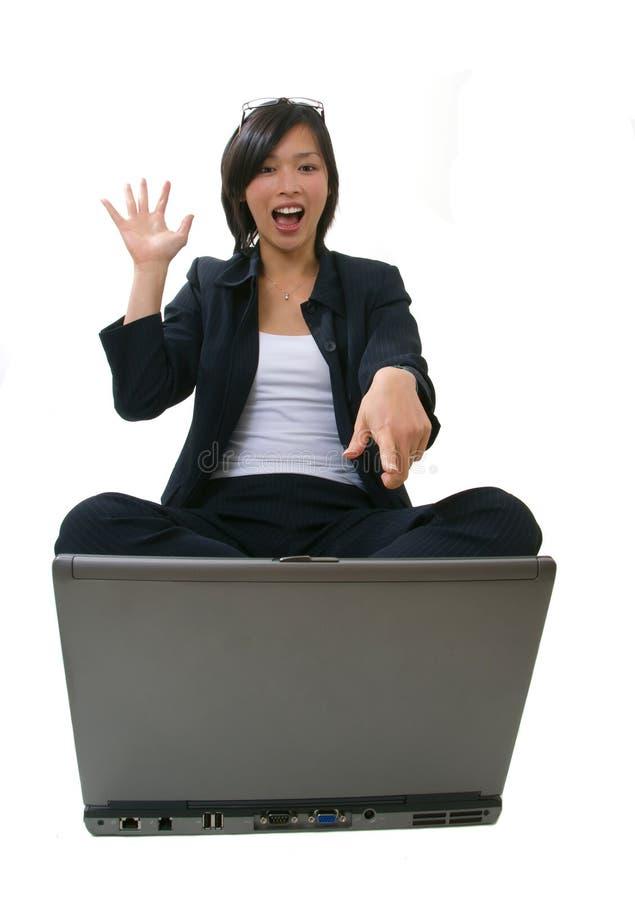 Mulher de negócio que olha feliz fotos de stock royalty free